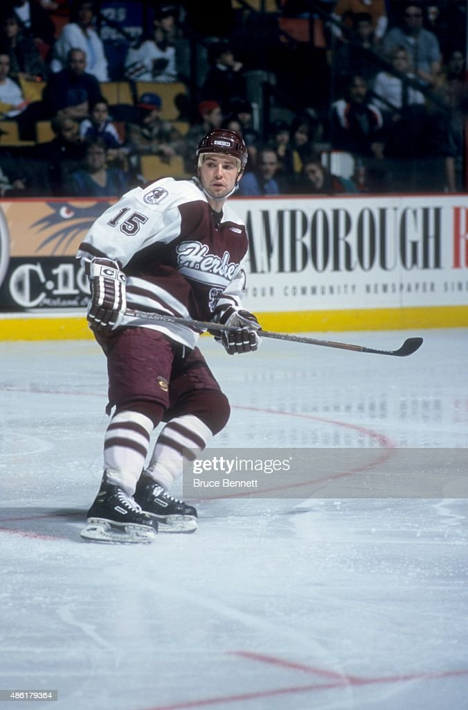 Serge Aubin of the Hershey Bears skates on the ice during an AHL game in March 1999