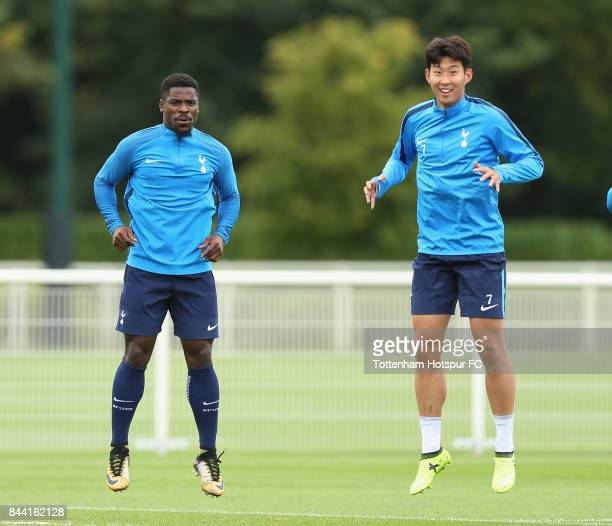 Serge Aurier and Heungmin Son of Tottenham during the Tottenham Hotspur training session at Tottenham Hotspur Training Centre on September 8 2017 in...