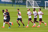Serge Aurier Hatem Ben Arfa Layvin Kurzawa Jean Christophe Bahebeck and Scherrer Maxwell during Paris Saint Germain First Training Session on July 4...