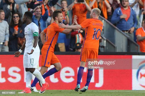 Serge Aurier of Ivory Coast Joel Veltman of Holland Davy Klaassen of Hollandduring the friendly match between The Netherlands and Ivory Coast at the...