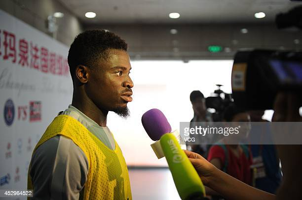 Serge Aurier of Paris SaintGermain attends a training session ahead of the French Super Cup football match against Guingamp at the Workers Stadium on...