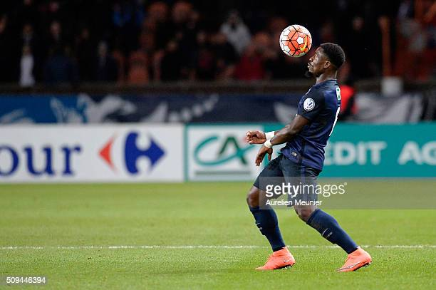 Serge Aurier of Paris SaintGermain controls the ball during the French Cup game between the Paris SaintGermain and Olympique Lyonnais at Parc des...