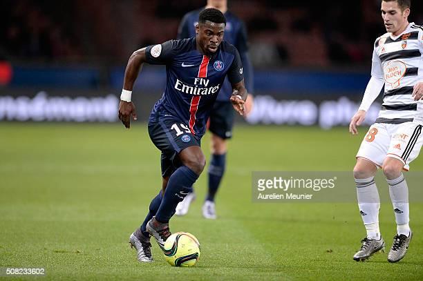 Serge Aurier of Paris SaintGermain dribbles with the ball during the Ligue 1 game between Paris SaintGermain and FC Lorient at Parc des Princes on...