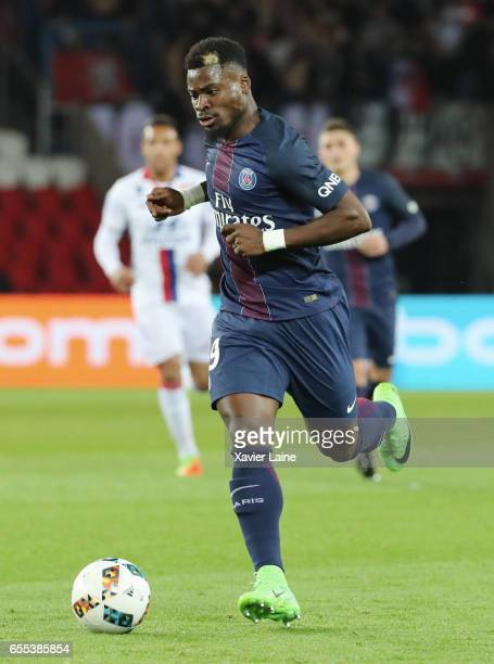 Serge Aurier of Paris SaintGermain during the French Ligue 1 match between Paris Saint Germain and Lyon OL at Parc des Princes on March 19 2017 in...