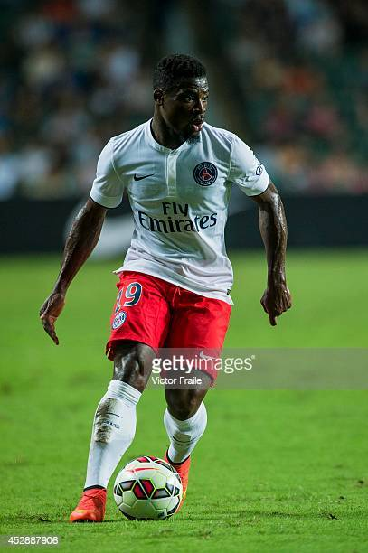 Serge Aurier of Paris SaintGermain in action during the friendly match between Kitchee and Paris SaintGermain at Hong Kong Stadium on July 29 2014 in...