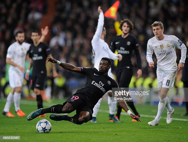 Serge Aurier of Paris SaintGermain in action during the UEFA Champions League Group A match between Real Madrid CF and Paris SaintGermain at estadio...