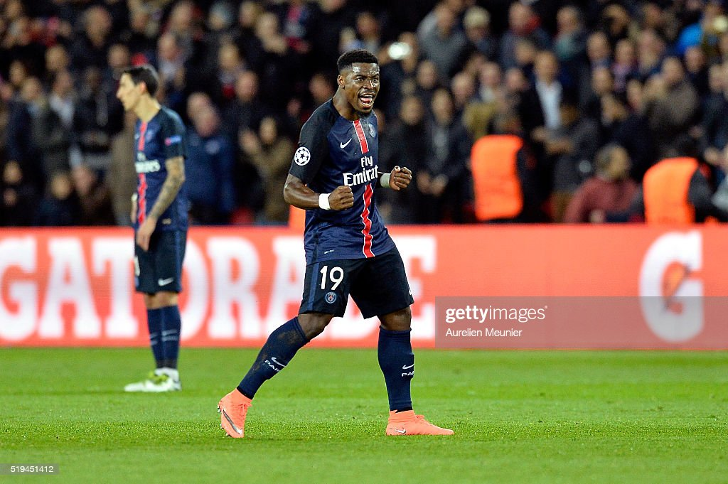 <a gi-track='captionPersonalityLinkClicked' href=/galleries/search?phrase=Serge+Aurier&family=editorial&specificpeople=6716046 ng-click='$event.stopPropagation()'>Serge Aurier</a> of Paris Saint-Germain reacts after during the UEFA Champions League Quarter Final first leg game between Paris Saint-Germain and Manchester City on April 6, 2016 in Paris, France.