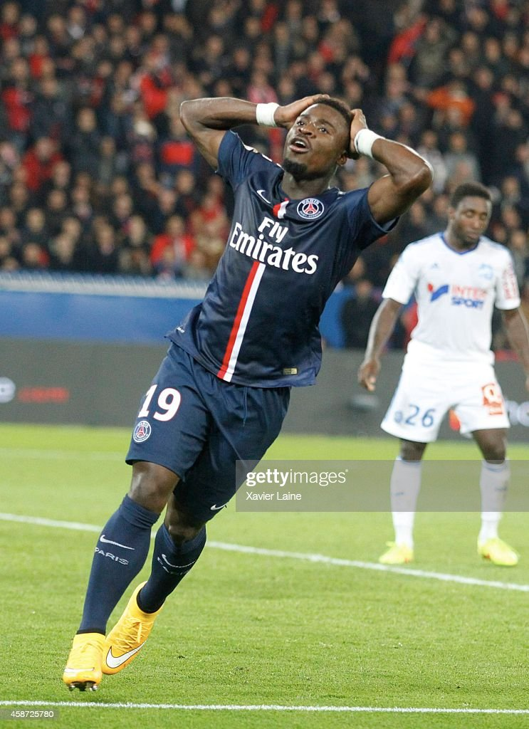 <a gi-track='captionPersonalityLinkClicked' href=/galleries/search?phrase=Serge+Aurier&family=editorial&specificpeople=6716046 ng-click='$event.stopPropagation()'>Serge Aurier</a> of Paris Saint-Germain reacts during the French Ligue 1 between Paris Saint-Germain FC and Olympique de Marseille at Parc Des Princes on November 09, 2014 in Paris, France.