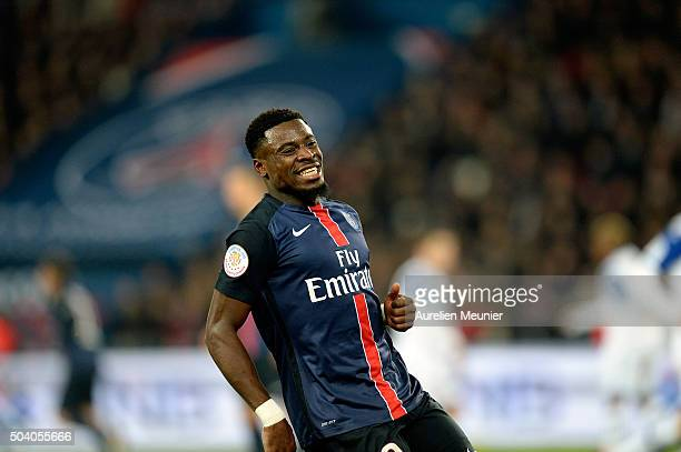 Serge Aurier of Paris SaintGermain reacts during the Ligue 1 game between Paris SaintGermain and SC Bastia at Parc des Princes on January 8 2016 in...