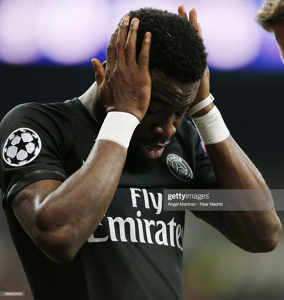 <a gi-track='captionPersonalityLinkClicked' href=/galleries/search?phrase=Serge+Aurier&family=editorial&specificpeople=6716046 ng-click='$event.stopPropagation()'>Serge Aurier</a> of Paris Saint-Germain reacts during the UEFA Champions League Group A match between Real Madrid and Paris Saint-Germain at Estadio Santiago Bernabeu on November 3, 2015 in Madrid, Spain.