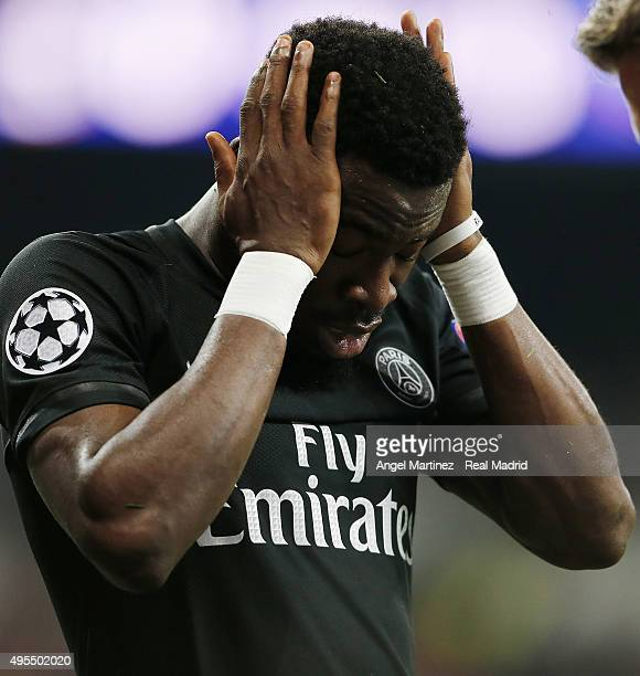 Serge Aurier of Paris SaintGermain reacts during the UEFA Champions League Group A match between Real Madrid and Paris SaintGermain at Estadio...