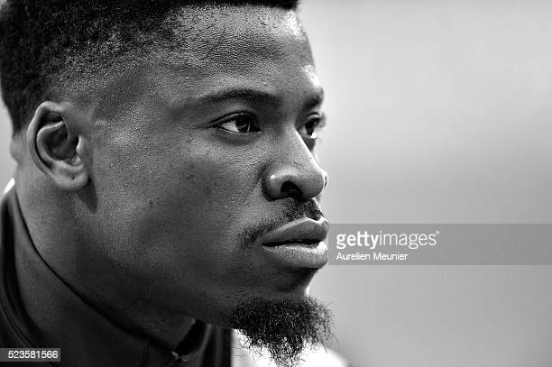 Serge Aurier of Paris SaintGermain reacts during warmup before the French Cup Final game between Paris SaintGermain and Llosc Lille at Stade de...