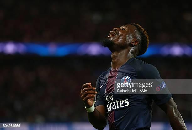 Serge Aurier of Paris St Germain reacts during the UEFA Champions League match between Paris SaintGermain and Arsenal at Parc des Princes on...