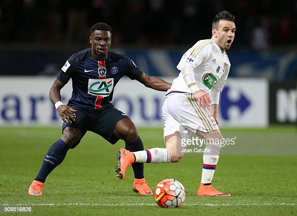 Serge Aurier of PSG and Mathieu Valbuena of Lyon in action during the French Cup match between Paris SaintGermain and Olympique Lyonnais at Parc des...
