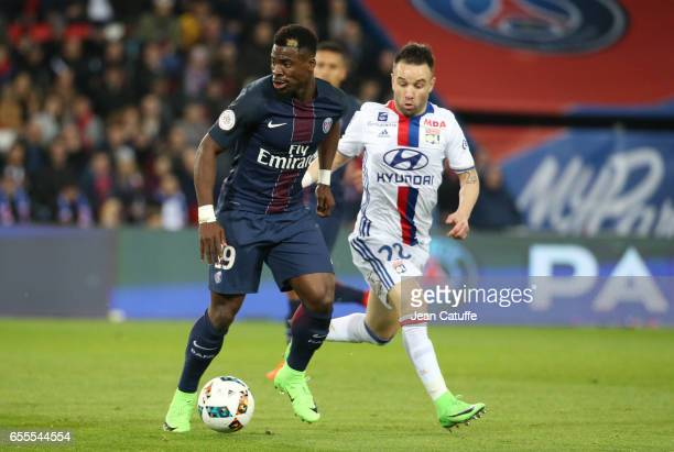 Serge Aurier of PSG and Mathieu Valbuena of Lyon in action during the French Ligue 1 match between Paris SaintGermain and Olympique Lyonnais at Parc...
