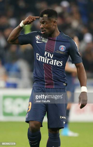Serge Aurier of PSG during the French League Cup final between Paris SaintGermain and AS Monaco at Parc OL on April 1 2017 in Lyon France