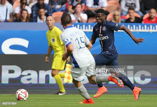 Serge Aurier of PSG in action during the French Ligue 1 match between Paris Saint Germain FC and SC Bastia at Parc des Princes stadium on August 16...