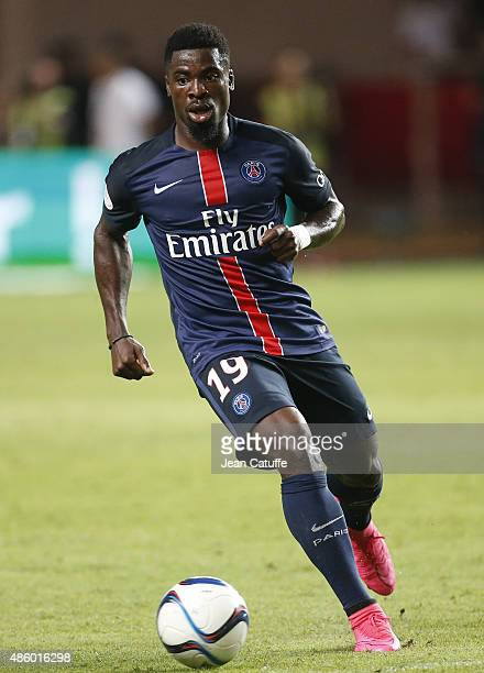 Serge Aurier of PSG in action during the French Ligue 1 match between AS Monaco and Paris SaintGermain at Stade Louis II on August 30 2015 in Monaco