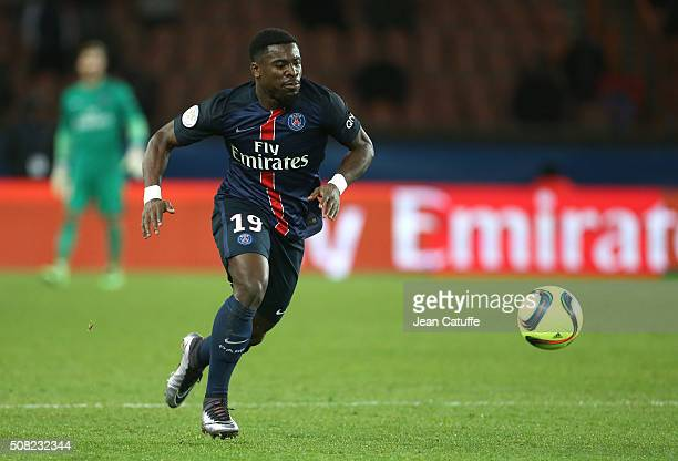 Serge Aurier of PSG in action during the French Ligue 1 match between Paris SaintGermain and FC Lorient at Parc des Princes stadium on February 6...
