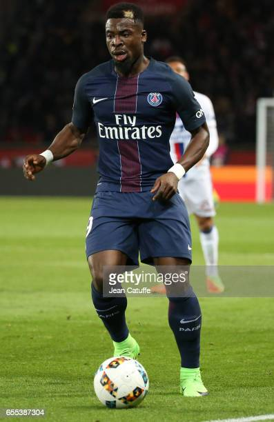 Serge Aurier of PSG in action during the French Ligue 1 match between Paris SaintGermain and Olympique Lyonnais at Parc des Princes stadium on March...