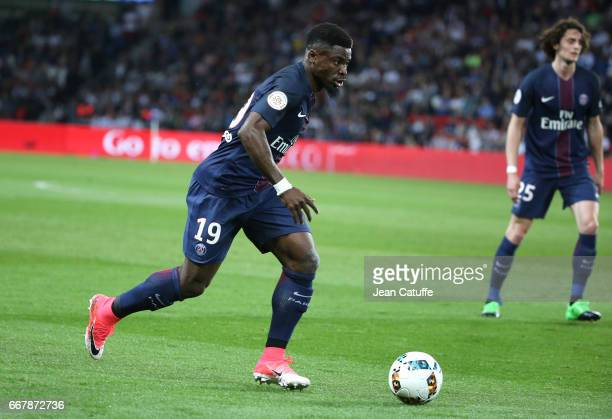 Serge Aurier of PSG in action during the French Ligue 1 match between Paris SaintGermain and En Avant Guingamp at Parc des Princes on April 9 2017 in...