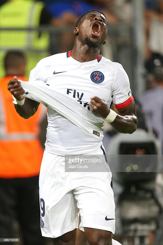 <a gi-track='captionPersonalityLinkClicked' href=/galleries/search?phrase=Serge+Aurier&family=editorial&specificpeople=6716046 ng-click='$event.stopPropagation()'>Serge Aurier</a> of PSG reacts during the French Ligue 1 match between Montpellier Herault SC (MHSC) v Paris Saint-Germain (PSG) at Stade de la Mosson on August 21, 2015 in Montpellier, France.
