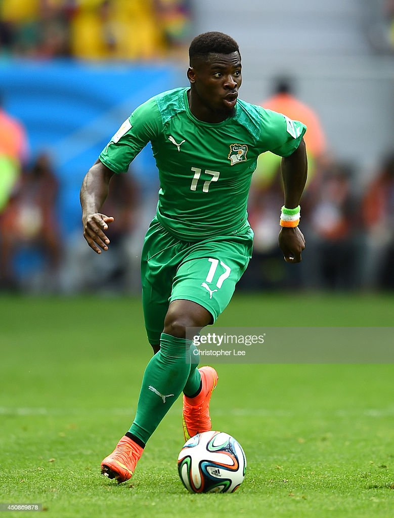 <a gi-track='captionPersonalityLinkClicked' href=/galleries/search?phrase=Serge+Aurier&family=editorial&specificpeople=6716046 ng-click='$event.stopPropagation()'>Serge Aurier</a> of the Ivory Coast controls the ball during the 2014 FIFA World Cup Brazil Group C match between Colombia and Cote D'Ivoire at Estadio Nacional on June 19, 2014 in Brasilia, Brazil.