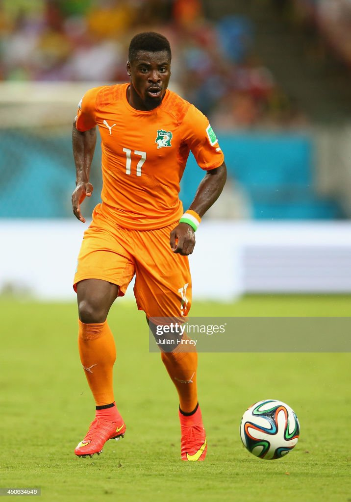<a gi-track='captionPersonalityLinkClicked' href=/galleries/search?phrase=Serge+Aurier&family=editorial&specificpeople=6716046 ng-click='$event.stopPropagation()'>Serge Aurier</a> of the Ivory Coast during the 2014 FIFA World Cup Brazil Group C match between the Ivory Coast and Japan at Arena Pernambuco on June 14, 2014 in Recife, Brazil.