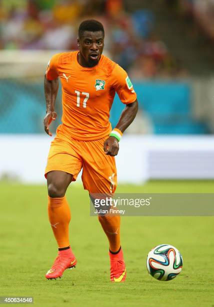 Serge Aurier of the Ivory Coast during the 2014 FIFA World Cup Brazil Group C match between the Ivory Coast and Japan at Arena Pernambuco on June 14...