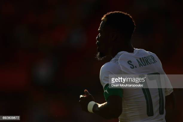 Serge Aurier of the Ivory Coast looks on during the International Friendly match between the Netherlands and Ivory Coast held at De Kuip or Stadion...