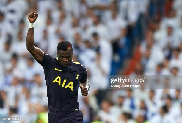 Serge Aurier of Tottenham Hotspur celebrates after scoring a goal during the UEFA Champions League group H match between Real Madrid and Tottenham...