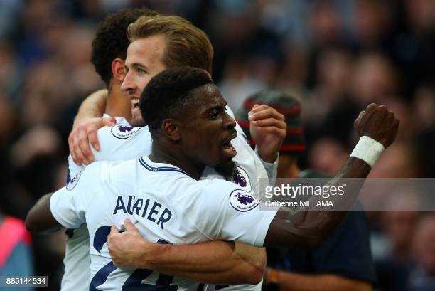 Serge Aurier of Tottenham Hotspur celebrates with Harry Kane of Tottenham Hotspur during the Premier League match between Tottenham Hotspur and...