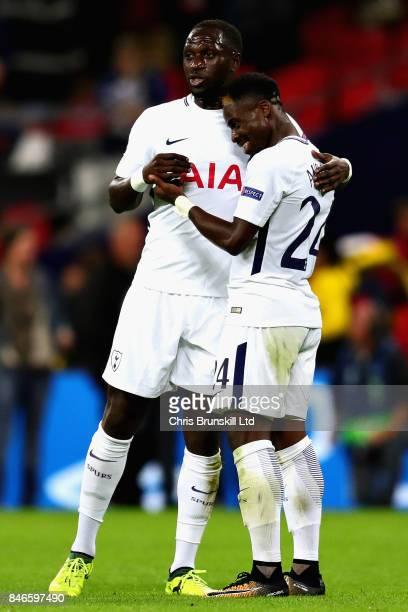 Serge Aurier of Tottenham Hotspur hugs Davinson Sanchez of Tottenham Hotspur after the UEFA Champions League group H match between Tottenham Hotspur...