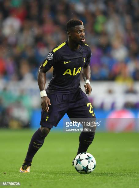 Serge Aurier of Tottenham Hotspur looks on during the UEFA Champions League group H match between Real Madrid and Tottenham Hotspur at Estadio...