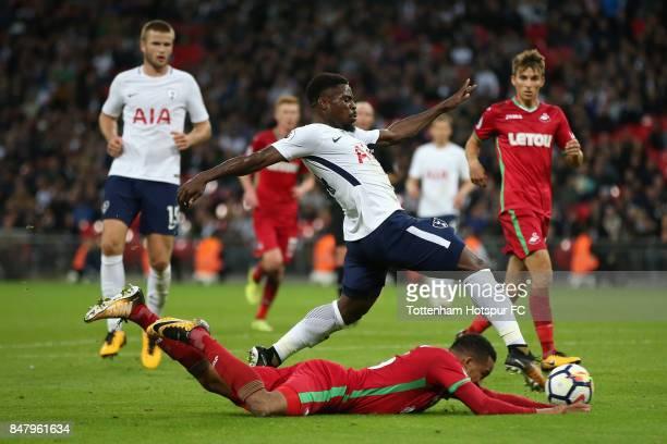 Serge Aurier of Tottenham Hotspur shoots during the Premier League match between Tottenham Hotspur and Swansea City at Wembley Stadium on September...