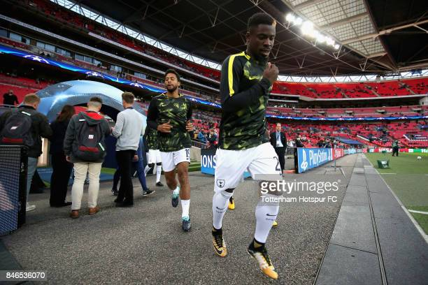 Serge Aurier of Tottenham Hotspur walks out to warm up prior to the UEFA Champions League group H match between Tottenham Hotspur and Borussia...