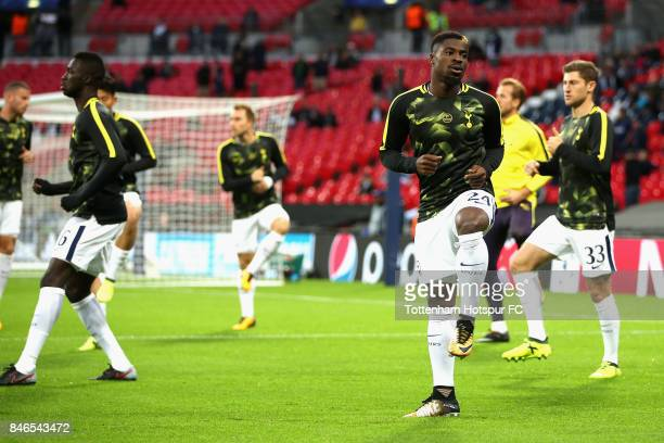 Serge Aurier of Tottenham Hotspur warms up prior to the UEFA Champions League group H match between Tottenham Hotspur and Borussia Dortmund at...