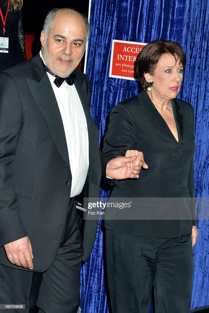 Serge Benaim and Roselyne Bachelot attend the 'Globes de Cristal 2013' Press Room at the Lido on February 4, 2013 in Paris, France.