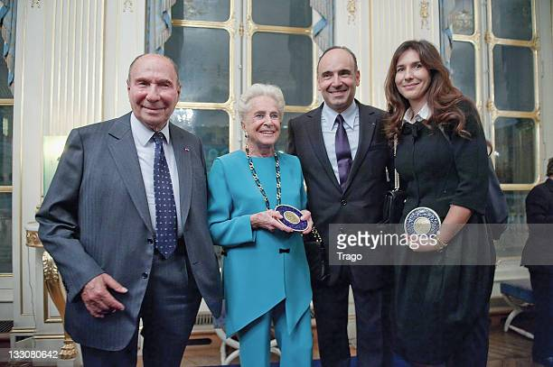 Serge Dassault Nicole Dassault Philippe Journo and Karine Journo are pictured after being awarded at the Art Patrons Celebration at Ministere de la...