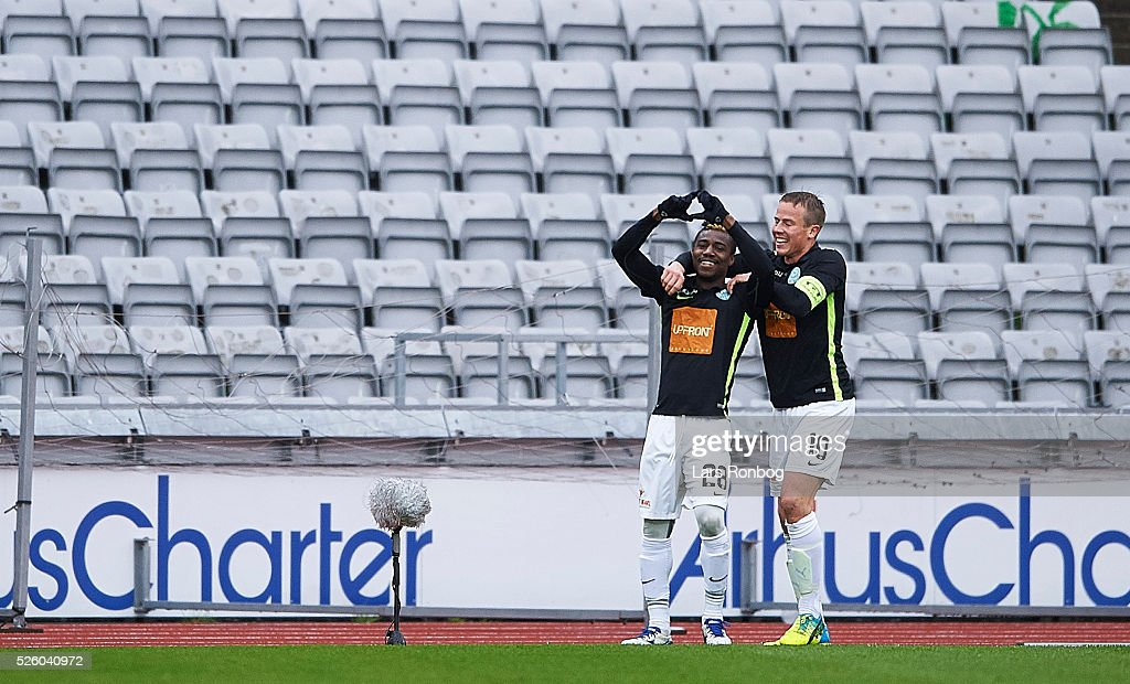 Serge Deble and Jeppe Curth of Viborg FF celebrate after scoring their first goal during the Danish Alka Superliga match between AGF Aarhus and Viborg FF at Ceres Park on April 29, 2016 in Aarhus, Denmark.