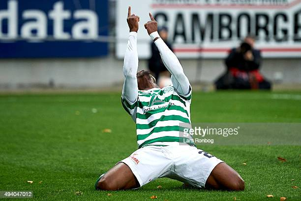 Serge Deble celebrates after scoring their third goal during the Danish Alka Superliga match between Viborg FF and Esbjerg fB at Energi Viborg Arena...