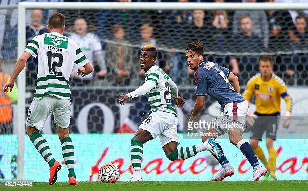 Serge Deble of Viborg FF and Alexander Juel Andersen of AGF Aarhus compete for the ball during the Danish Alka Superliga match between Viborg FF and...