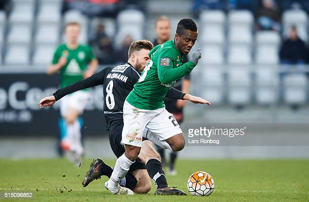 Serge Deble of Viborg FF and Janus Drachmann of Sonderjyske compete for the ball during the Danish Alka Superliga match between Viborg FF and...