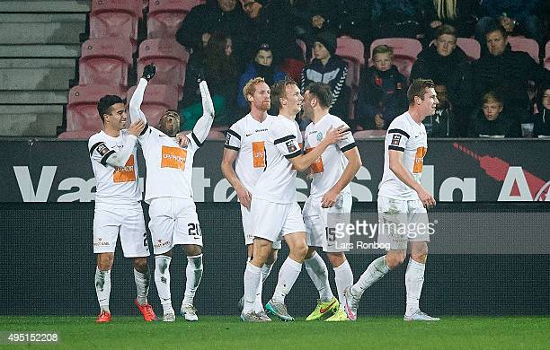 Serge Deble of Viborg FF celebrates after scoring their second goal during the Danish Alka Superliga match between FC Midtjylland and Viborg FF at...