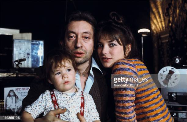 Serge Gainsbourg with Jane Birkin and daughter Charlotte Gainsbourg in France in 1973