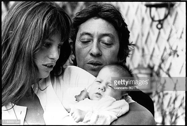 Serge Gainsbourg with Jane Birkin And their baby Charlotte Gainsbourg in France in 1971