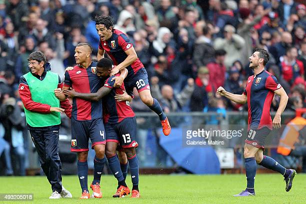 Serge Gakpe' of Genoa CFC celebrates after scoring a goal during the Serie A match between Genoa CFC and AC Chievo Verona at Stadio Luigi Ferraris on...