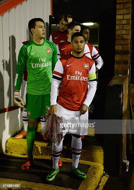 Serge Gnabry and Dejan Iliev of Arsenal before the match between Arsenal U19 and Shakhtar Donetsk U19 in the UEFA Youth League at Meadow Park on...