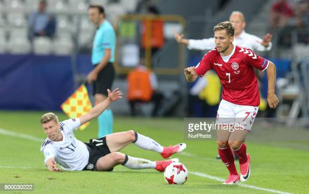 Serge Gnabry Andrew Hjulsager during the UEFA European Under21 Championship Group C match between Germany and Denmark at Krakow Stadium on June 21...