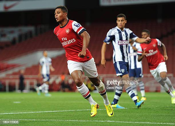 Serge Gnabry celebrates after scoring a goal for Arsenal during the U21 Premier League match between Arsenal U21 and West Bromwich Albion U21 at...